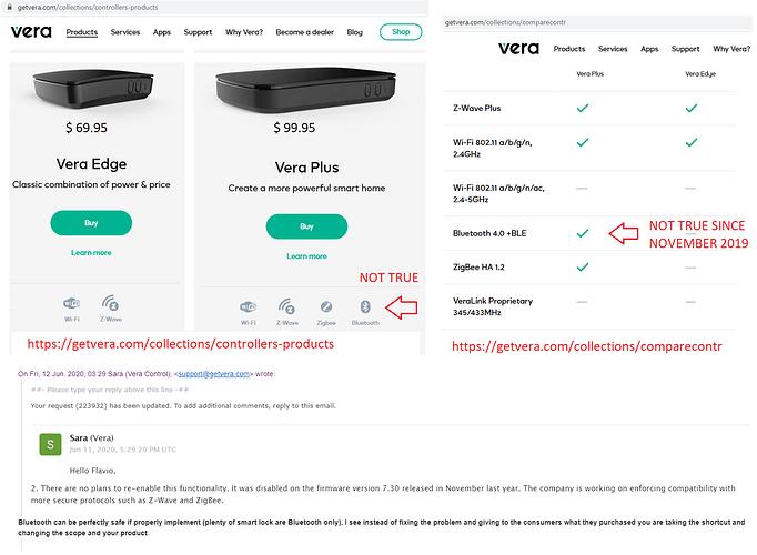 VeraPlus Bluetooth FALSE ADVERTISING SINCE Nov-2019